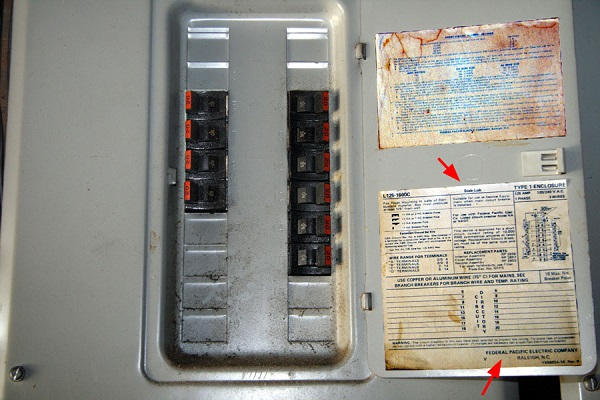 Closeup of Federal Pacific electrical panel